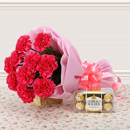Supernova Pink - Bunch of 12 Pink Carnations with 200gm Ferrero Rocher.