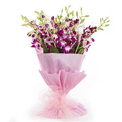 Sweet Treasure - Bunch of 10 purple Orchids in dual paper packing.:Purple Flowers