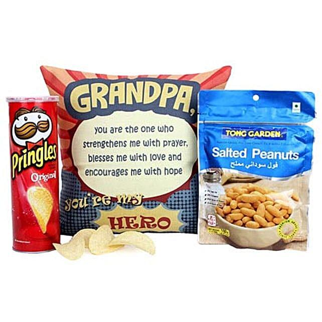 Tasty Treat For Grandpa-140 grams Tong Garden Salted Peanuts,Original Pringles 169 grams,Cushion 12X12 inches