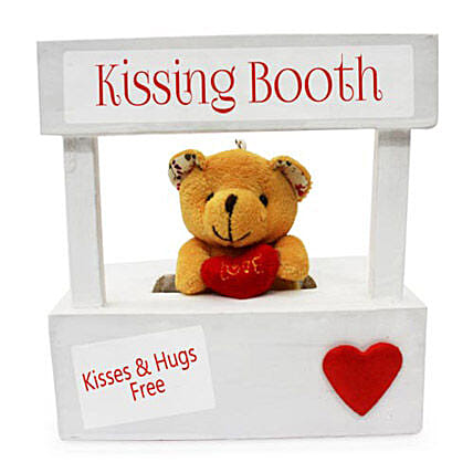 The Best Darn Kiss You Can Ever Get-6x6 inch wooden kissing booth,2 inch teddy bear