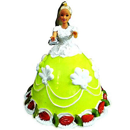 The Lovely Barbie Cake Eggless 2kg by FNP