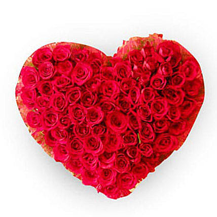 The precious heart - A heart shaped designer arrangement of 100 red roses.