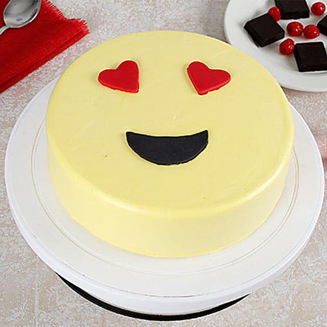 True Love Emoji Cream Vanilla Cake 1kg Eggless