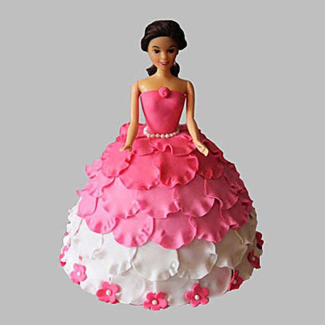 White N Pink Floral Barbie Cake 2kg Eggless Chocolate