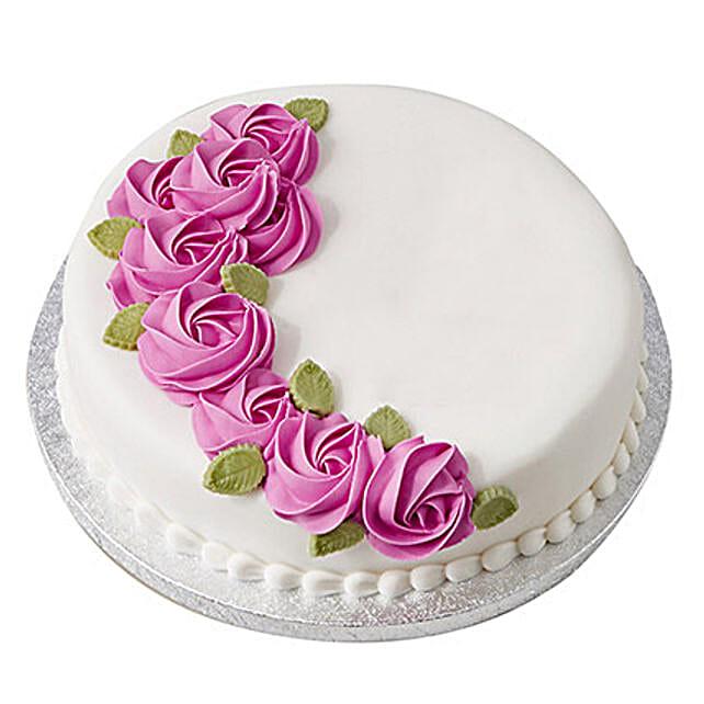 White N Round Fondant Cake Black Forest 1kg