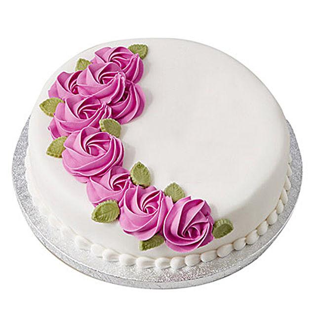 White N Round Fondant Cake Black Forest 3kg Eggless