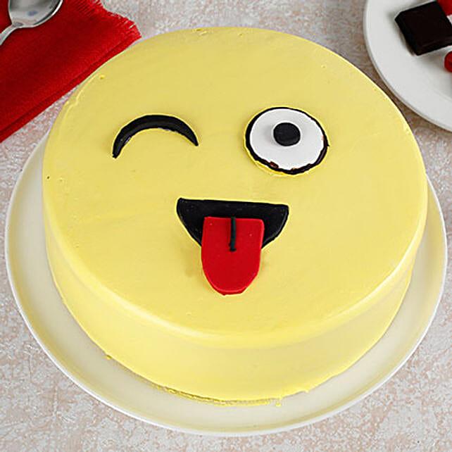 Wink Emoji Semi Fondant Butterscotch Cake 1kg Eggless