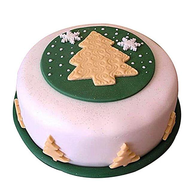 Xmas Tree Fondant Cake 1kg Vanilla Eggless