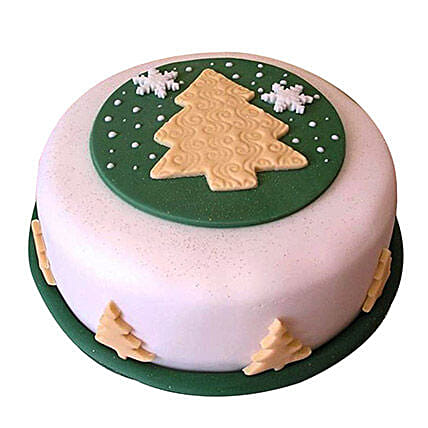 Xmas Tree Fondant Cake 2kg Pineapple Eggless