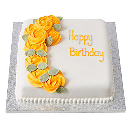 Yellow Roses Fondant Cake Black Forest 3kg