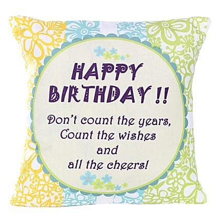 Birthday Cushion-12X12 inches white Cushion with message,Happy Birthday printed on it