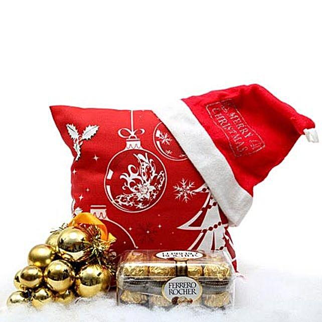 Christmas Hamper-cushion,cap,decorative hanging,200 grams Ferrero Rocher chocolate:Send Gifts to Sonbhadra