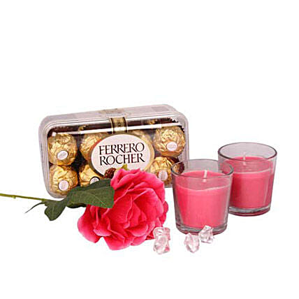 Love Connecting Chocolates-200 grams ferrero Rocher chocolates,2 pink candles,long stem artificial rose