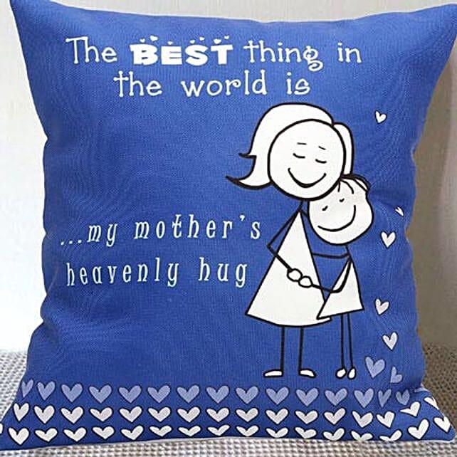 Mom's Hug Blue Cushion
