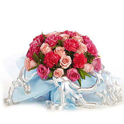 Perfect Love - Glass vase arrangement of 12 Pink roses with 10 pink carnations.