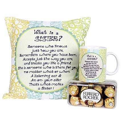 Cushion Combo For Sister-Cushion 12X12 inches,White Coffee Mug and 16 Pieces Ferrero Rocher Chocolate box