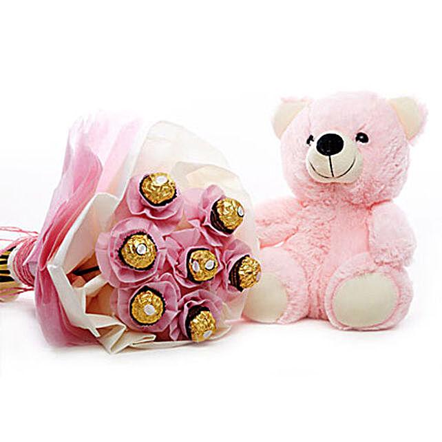 Sweet Affairs-7 Ferrero Rocher chocolates,10 inches pink teddy bear:Thank You Soft toys