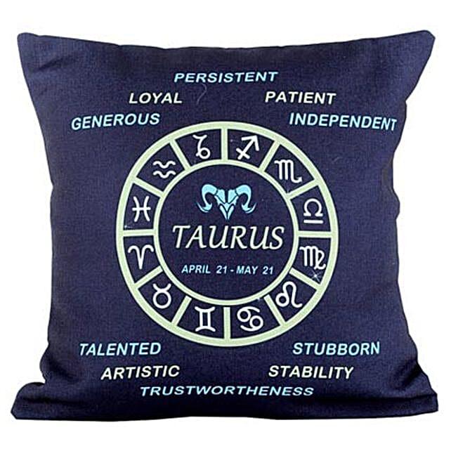 Taurus Cushion-Navy Blue Taurus Cushion 12X12 inches:Gifts for Taureans