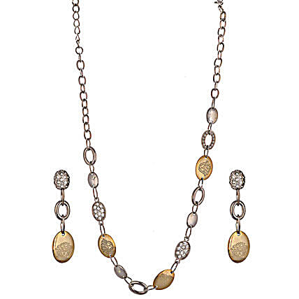 Golden Peacock Gold Jewellery Set-Golden Peacock Silver color Earrings and Necklace Set:Gold Plated Gifts