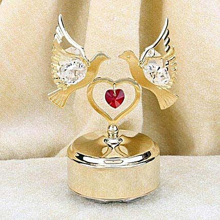 Swarovski golden base with double dove and heart:Gold Plated Gifts