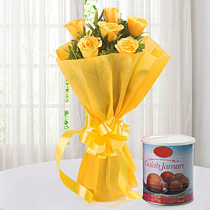 Roses N Gulab Jamun - Bunch of 6 Yellow Roses with Gulab Jamun 1kg.:Flowers with Sweets For Christmas