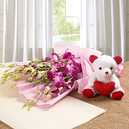 Abundance of Love - Bunch of 6 orchids with a cute .:Gifts for 2Nd Birthday
