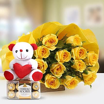 Care Express - Bunch of 12 Yellow Long Stem Roses packing with 6Inch Soft toy and 200gm Ferrero Rocher Chocolate box.:Flowers & Teddy Bears for Birthday