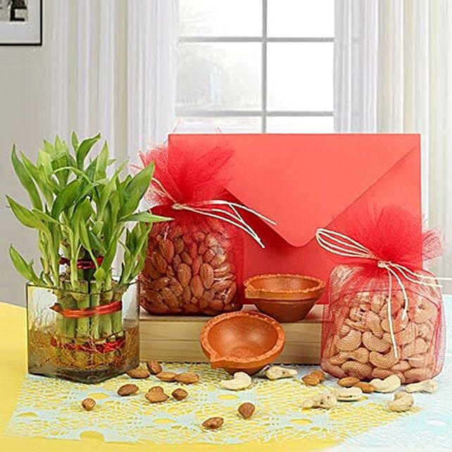 Dry fruits with greeting card, diyas and lucky bamboo:Plants N Diyas