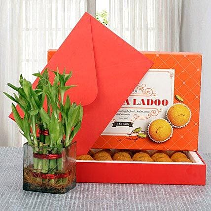 Combo of motichoor laddo, lucky bamboo and a greeting card