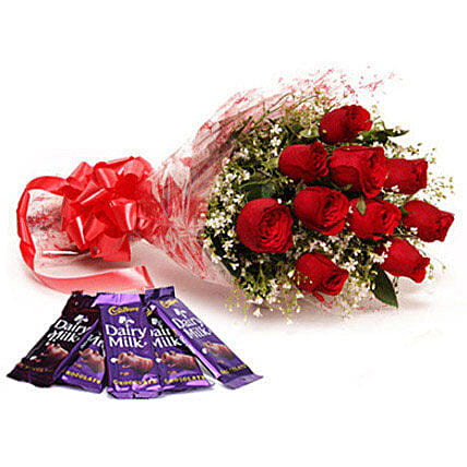Bouquet of red roses and chocolates:Flower Delivery in Jind