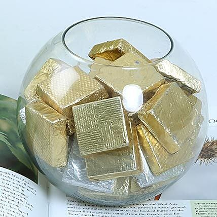 Square Assorted Chocolates in a Round Glass Vase:Send Handmade Chocolates