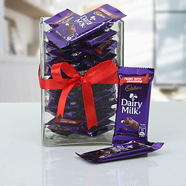 Dairy Milk Chocolate Bars in Glass Jar