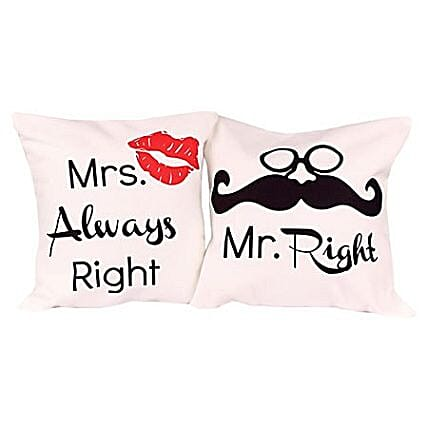 Right Cushions Mr & Mrs -funny couple cushions 12X12