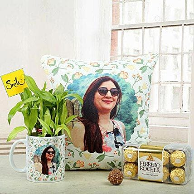 Personalised cushion and mug, two layer bamboo, ferrero rocher chocolates