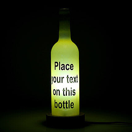 Contemporary Personalized Lamp-1 yellow coloured personalized text bottle lamp