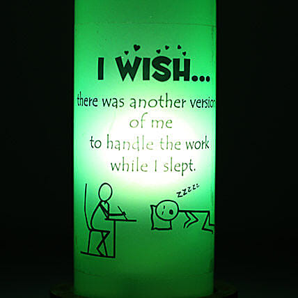 Lazy Me Lamp-green coloured i wish bottle lamp:Home Decor for House Warming