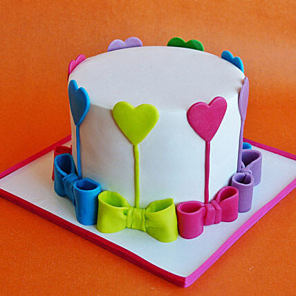 Bows and hearts cake 1kg