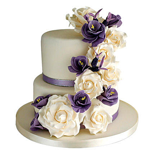 Purple Cascade 3kg:3 Tier Cake