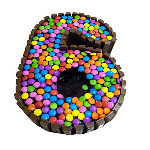 No 6 Gems Kitkat Cake for Kids 2kg:Alphabet Birthday Cake