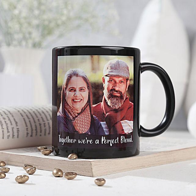 Personalized Couple Mug-printed on black ceramic coffee mug:Gifts to Theni