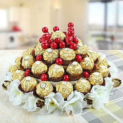 Love That Soothes Nerves-3-Tier tower ,35 pieces ferrero Rocher chocolate:Christmas Gifts Kolkata
