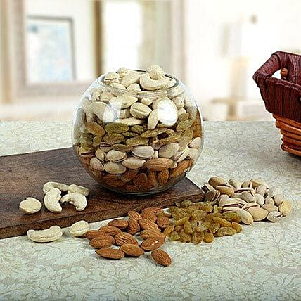 Dry fruits in a glass vase