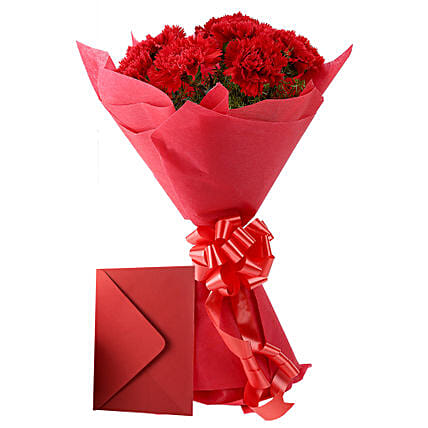 Carnations N Greeting Card - Bunch of 12 Red Carnations & Greeting card.