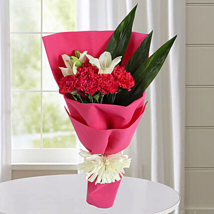 Carnations N White Asiatic Lilies Bunch