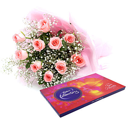 Celebrations with Pink Roses - Bouquet of 10 pink roses in a paper packing and 119 grams of cadbury celebrations.