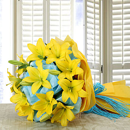 Yellow lilies bouquet