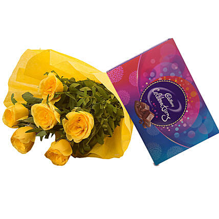 Roses N Celebrations - Bunch of 6 Yellow Roses with Cadbury Celebration Pack 119gm.