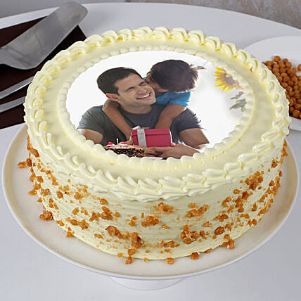 Delicious Fathers Day Butterscotch Photo Cake 2kg Eggless