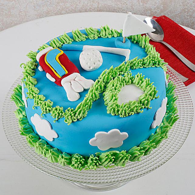 Designer Golf Semi Fondant Cake for Dad 1kg Eggless