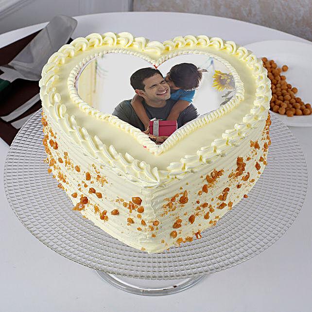 Fathers Day Butterscotch Heart Shaped Cake 1kg